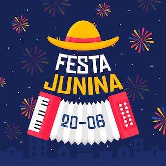 Design plano festa junina fogos de artifício