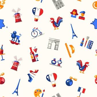 Design plano frança viagens padrão sem emenda com ícones e elementos de infográficos