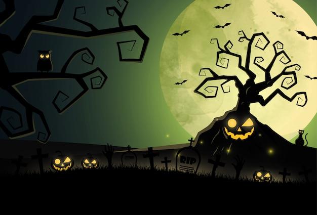 Design plano fundo de halloween com cemitério e casa.