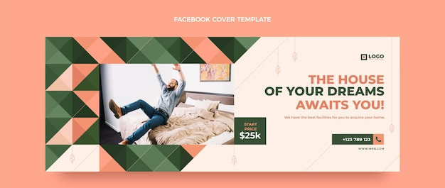 Design plano geométrico imobiliário capa do facebook
