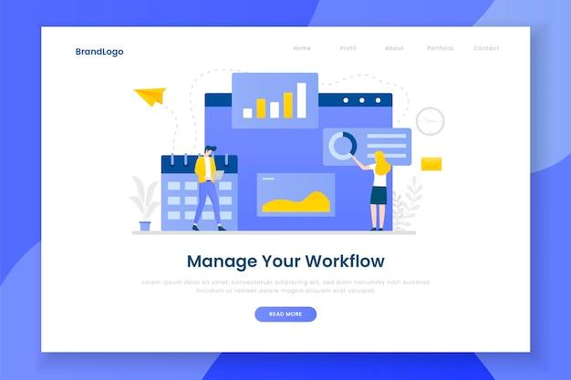 Design plano gerenciar seu conceito de página de destino do fluxo de trabalho