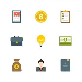 Design plano ícones dinheiro ideia dólar usd