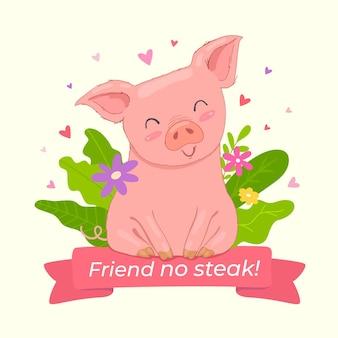 Design plano ilustrado conceito vegan e livre de crueldade
