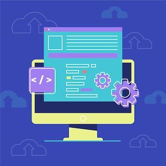 Design plano ilustrado desktop cms