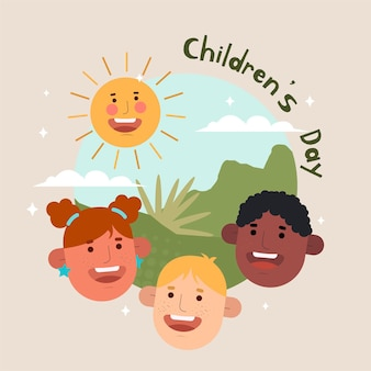 Design plano ilustrado do dia mundial da criança