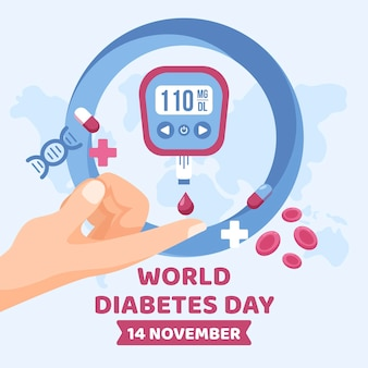Design plano ilustrado do dia mundial da diabetes