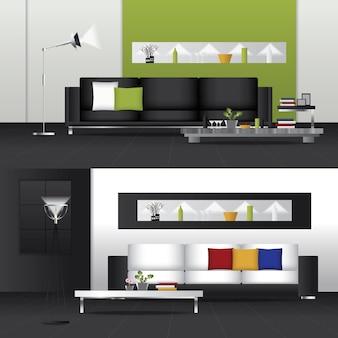 Design plano interior sala de estar e mobiliário interior