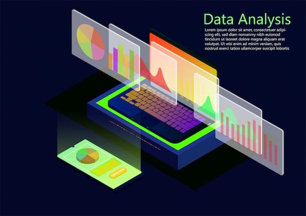 Design plano isométrico de dados de análise e investimento.