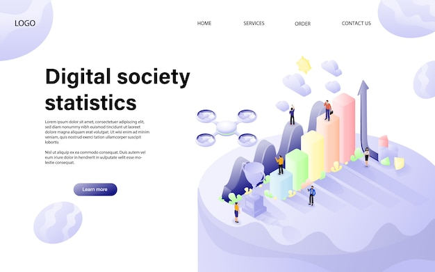 Design plano isométrico vector. conceito de estatísticas digitais