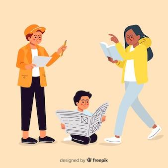 Design plano jovens personagens lendo no grupo