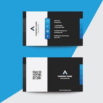 Design plano limpo azul preto cartão de visita de negócios premium corporativo
