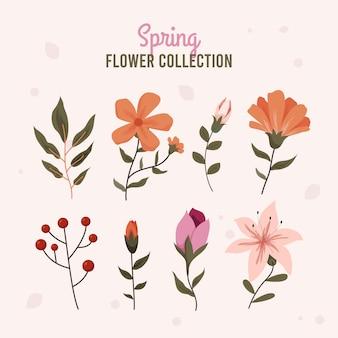 Design plano lindo conjunto de flores de primavera