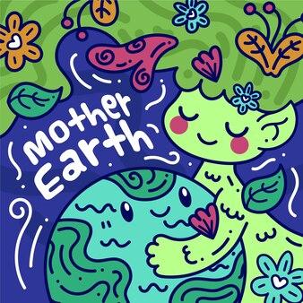 Design plano mãe terra dia celebração conceito