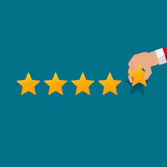 Design plano mão com classificação por estrelas. sistema de avaliação e sinal de revisão positiva.