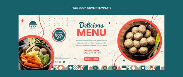 Design plano menu delicioso capa do facebook