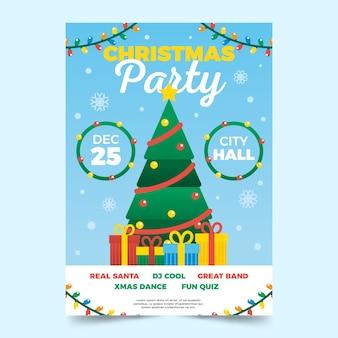 Design plano modelo de cartaz festa de natal