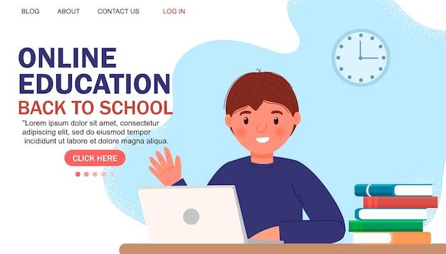 Design plano moderno de educação online. conceito de escola online. educação a distância. modelo de página de destino. para o seu design.