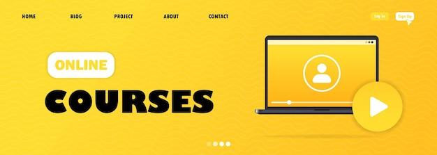 Design plano moderno de educação online para o site e site móvel