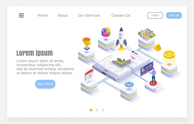Design plano moderno, start-up de negócios, foguete com elementos infográfico, ilustração isométrica sobre fundo branco, projeto para o site.