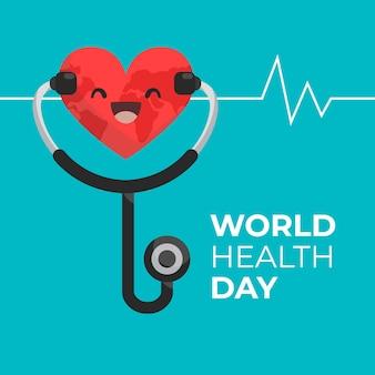 Design plano mundo saúde dia sorridente coração e pulso