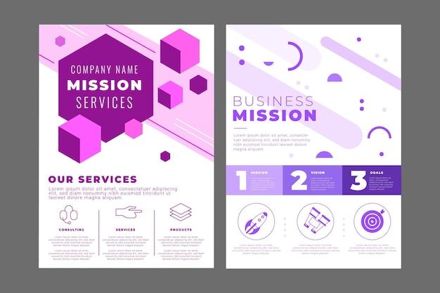 Design plano nossa coleção de folhetos de missão