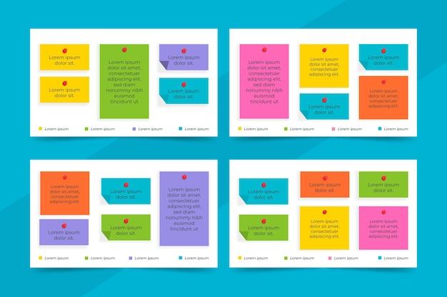 Design plano painéis de notas adesivas infográficos