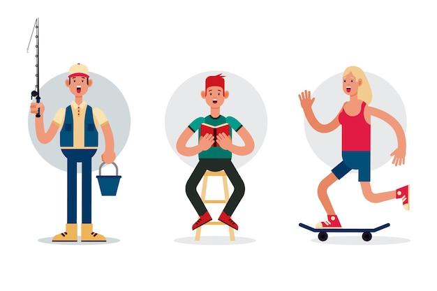 Design plano para pessoas diferentes com hobbies