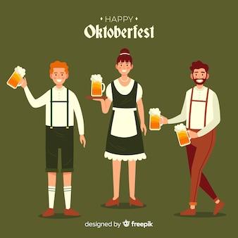 Design plano pessoas celebrando oktoberfest