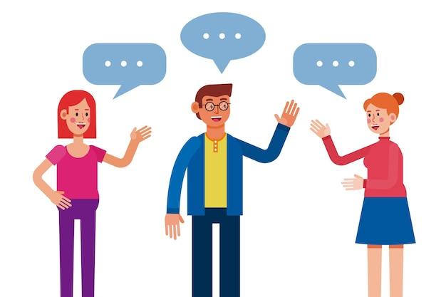 Design plano pessoas falando de ilustração