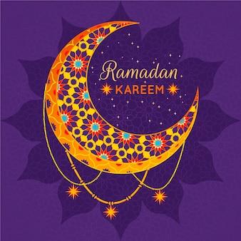 Design plano ramadan kareem com lua dourada