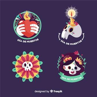 Design plano redondo da coleção de distintivos de dia de los muertos