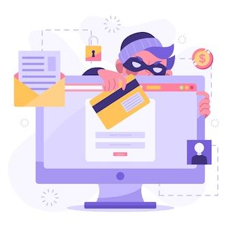 Design plano roubar ilustração de dados
