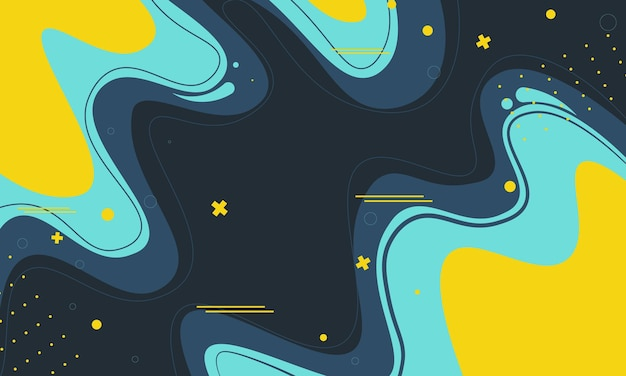 Design plano simples azul e amarelo com fundo ondulado. design moderno para seu banner.