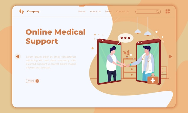 Design plano sobre suporte médico on-line na página de destino