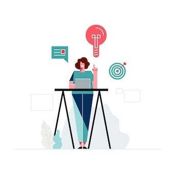 Design plano, sorrindo designer feminino ilustrações humanas grátis
