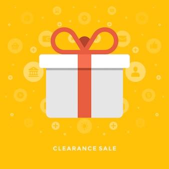 Design plano vector negócios ilustração conceito apuramento venda caixa de presente e laço vermelho