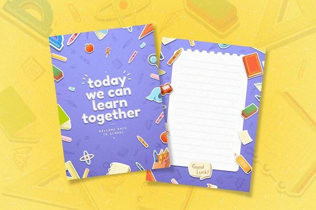 Design plano volta ao conjunto de modelo de cartão de escola