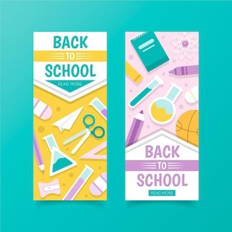 Design plano volta ao modelo de banners de escola