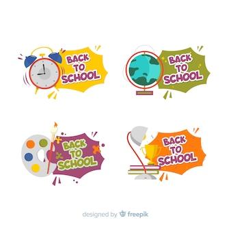 Design plano volta para coleção de distintivo de escola