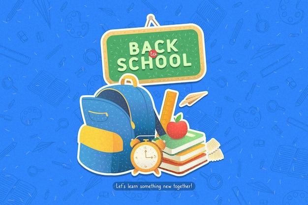 Design plano volta para o fundo da escola com mochila