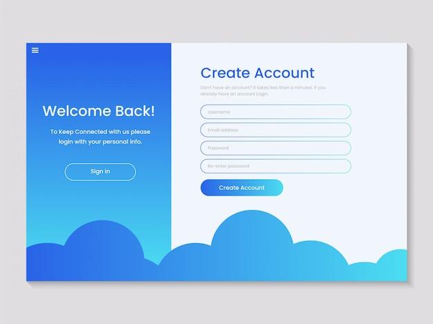 Design pop-up de formulário de inscrição de login criativo