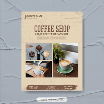 Design premium de modelo de folheto de cafeteria, modelo de menu de café, pôster de café, folheto de café