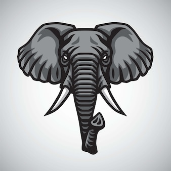 Design premium de vetor de mascote de cabeça de elefante