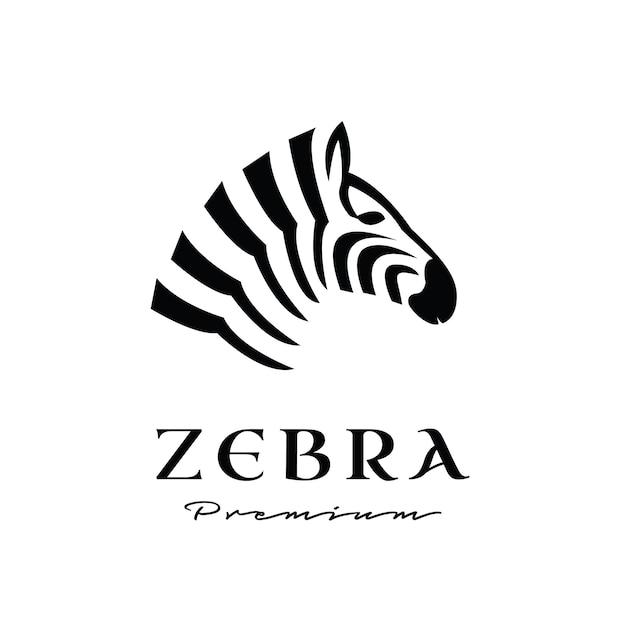 Design premium do logotipo da cabeça zebra