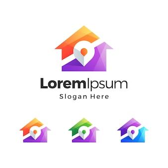 Design premium do logotipo gradiente do mapa da casa