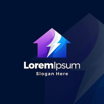 Design premium gradiente do logotipo da house energy