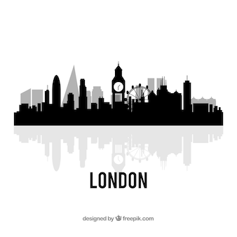 Design preto da skyline de londres