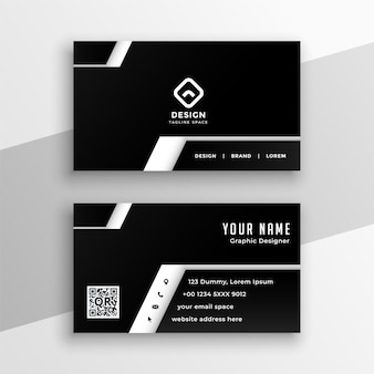 Design profissional de cartão de visita em preto e branco