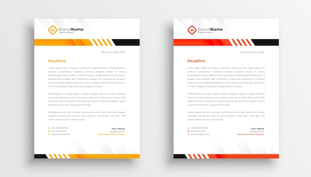 Design profissional de modelos de papel timbrado empresarial