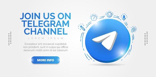 Design promocional elegante para apresentar sua conta de telegrama